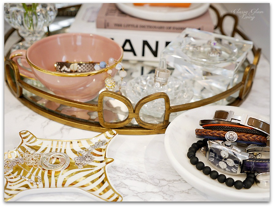 Adding Glam to Your Boudoir - a Blog Hop | vanity decor, vanity trays, tray styling, jewelry display, glam vanity | Classy Glam Living