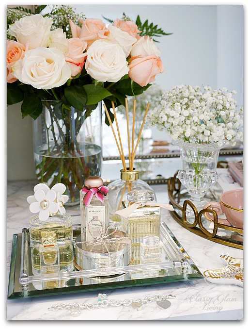 Adding Glam to Your Boudoir - a Blog Hop | vanity decor, vanity trays, tray styling, jewelry display, perfume display on vanity tray, glam vanity | Classy Glam Living