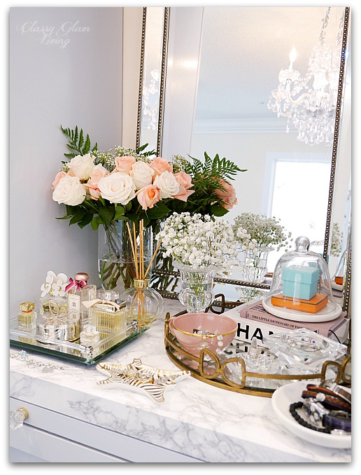 Adding Glam to Your Boudoir - a Blog Hop | vanity decor, vanity trays, tray styling, jewelry display, perfume display on vanity, glam vanity | Classy Glam Living