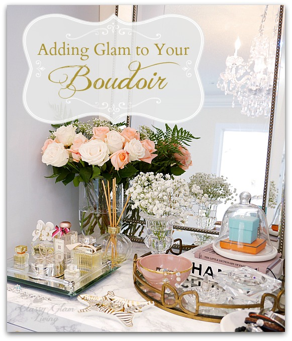 Adding Glam to Your Boudoir - a Blog Hop | built-in vanity in dressing room, vanity decor, jewelry display, perfume display, glam vanity | Classy Glam Living