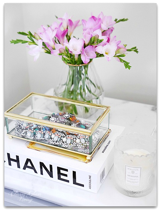 Adding Glam to Your Boudoir - a Blog Hop | vanity decor, glam bedside table decor, glam nightstand decor, jewelry display on nightstand, perfume display on nightstand, glam decor | Classy Glam Living 3