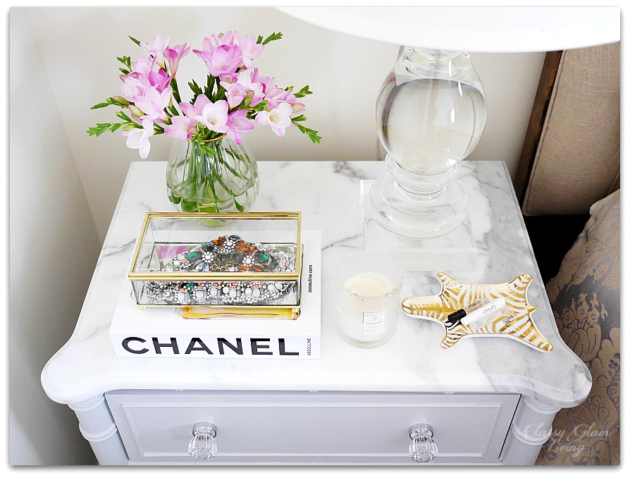 Adding Glam to Your Boudoir - a Blog Hop | vanity decor, glam bedside table decor, glam nightstand decor, jewelry display on nightstand, perfume display on nightstand, glam decor | Classy Glam Living 2
