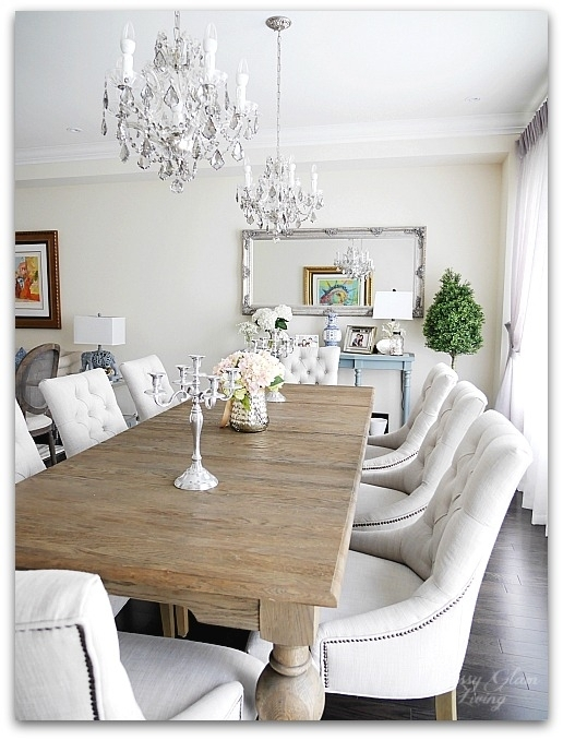 New House Dining Room | French blue console table, double chandelier | Restoration Hardware | Classy Glam Living