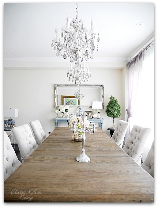 New House Dining Room | French blue console table, double chandelier | Restoration Hardware | Classy Glam Living 2