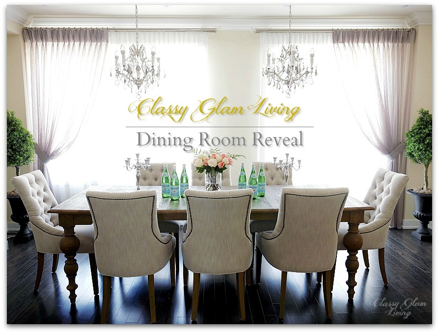 Dining Room Reveal | Restoration Hardware | Double chandelier, window treatment | Classy Glam Living 1