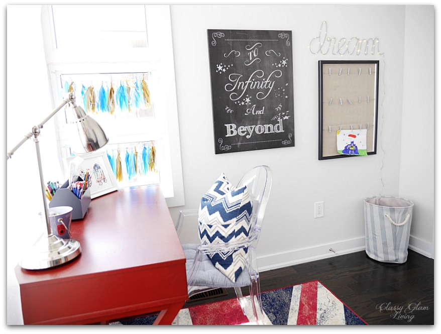 Modern Industrial Playroom Reveal | Restoration Hardware inspired playroom | Kids room decor | Boys room decor | Gallery wall, campaign desk, ghost chair, union jack rug | Classy Glam Living 9