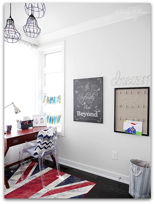 Modern Industrial Playroom Reveal | Restoration Hardware inspired playroom | Kids room decor | Boys room decor | Gallery wall, campaign desk, ghost chair, union jack rug | Classy Glam Living 8
