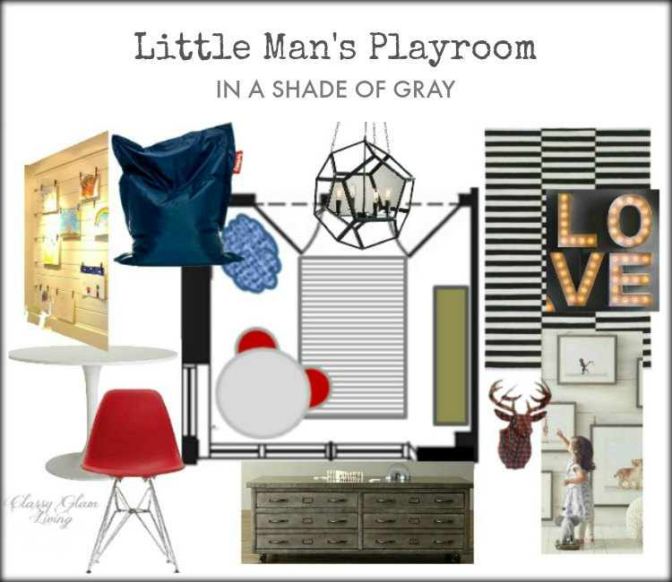 Modern Industrial Restoration Hardware inspired Playroom Design Board | Kids room decor Boys room | Classy Glam Living