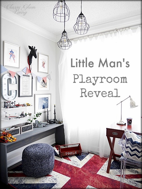 Modern Industrial Playroom Reveal | Restoration Hardware inspired playroom | Kids room decor | Boys room decor | Gallery wall, campaign desk, ghost chair, union jack rug | Classy Glam Living