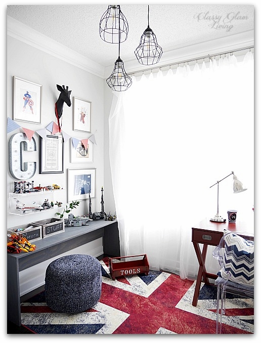 Modern Industrial Playroom Reveal | Playroom whimsical Gallery Wall, ghost chair, CB2 acrylic box shelf, campaign desk | Kid's room Kid's space | Classy Glam Living