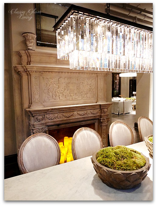 Restoration Hardware Chicago - Gallery + 3 Arts Club Cafe | Dining room intricate fireplace | Classy Glam Living
