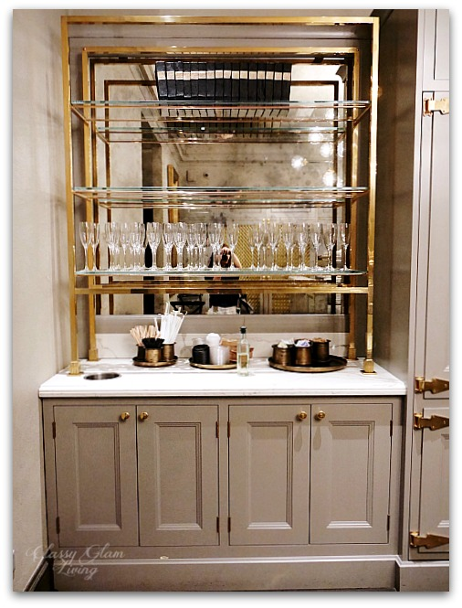 Restoration Hardware Chicago - Gallery + 3 Arts Club Cafe | Pantry Gray cabinets, brass glass shelves | Classy Glam Living