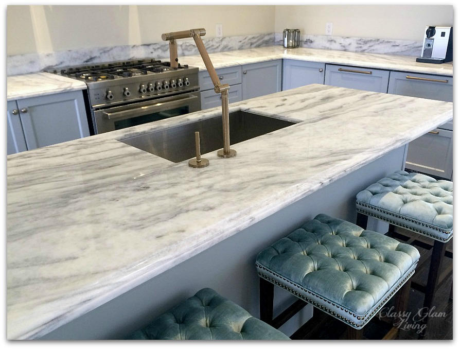 New House Kitchen | New Superwhite Countertop Kohler Karbon Faucet | Classy Glam Living
