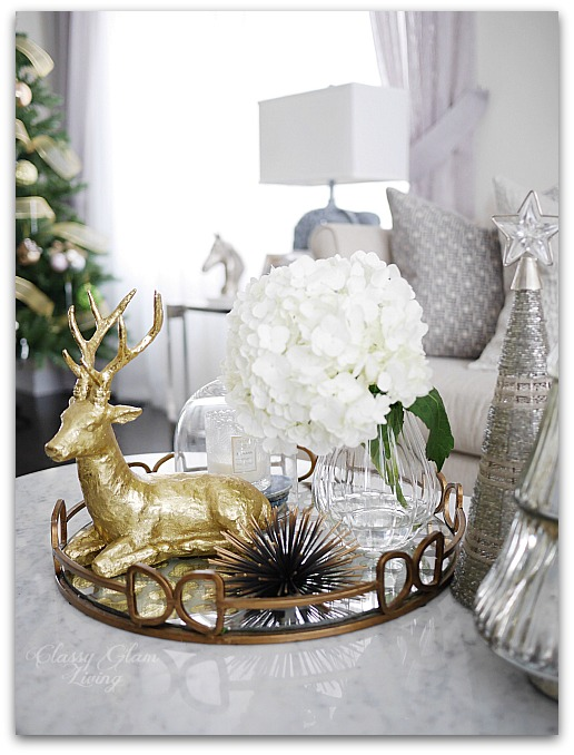 Mixed Metallics Christmas Decorations Coffee Table Styling | Classy Glam Living