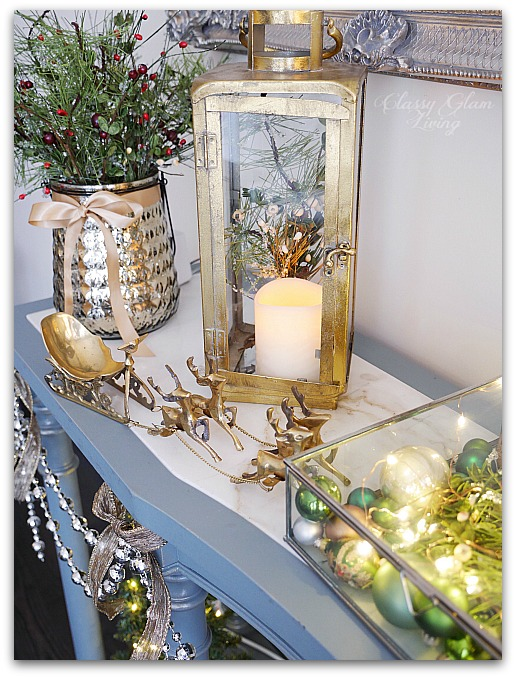 Mixed Metallics Christmas Decorations dining room console table sideboard | Classy Glam Living 3