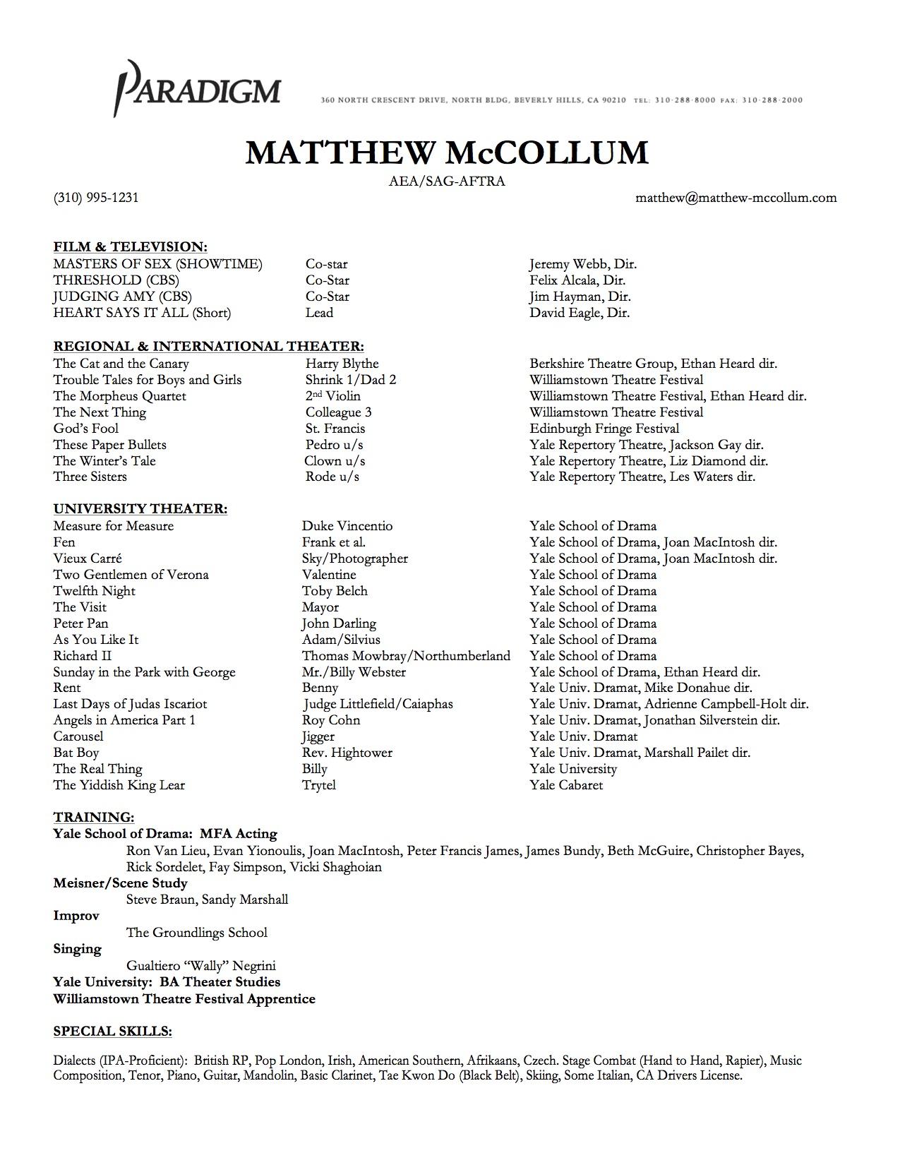 Matthew McCollum Resume