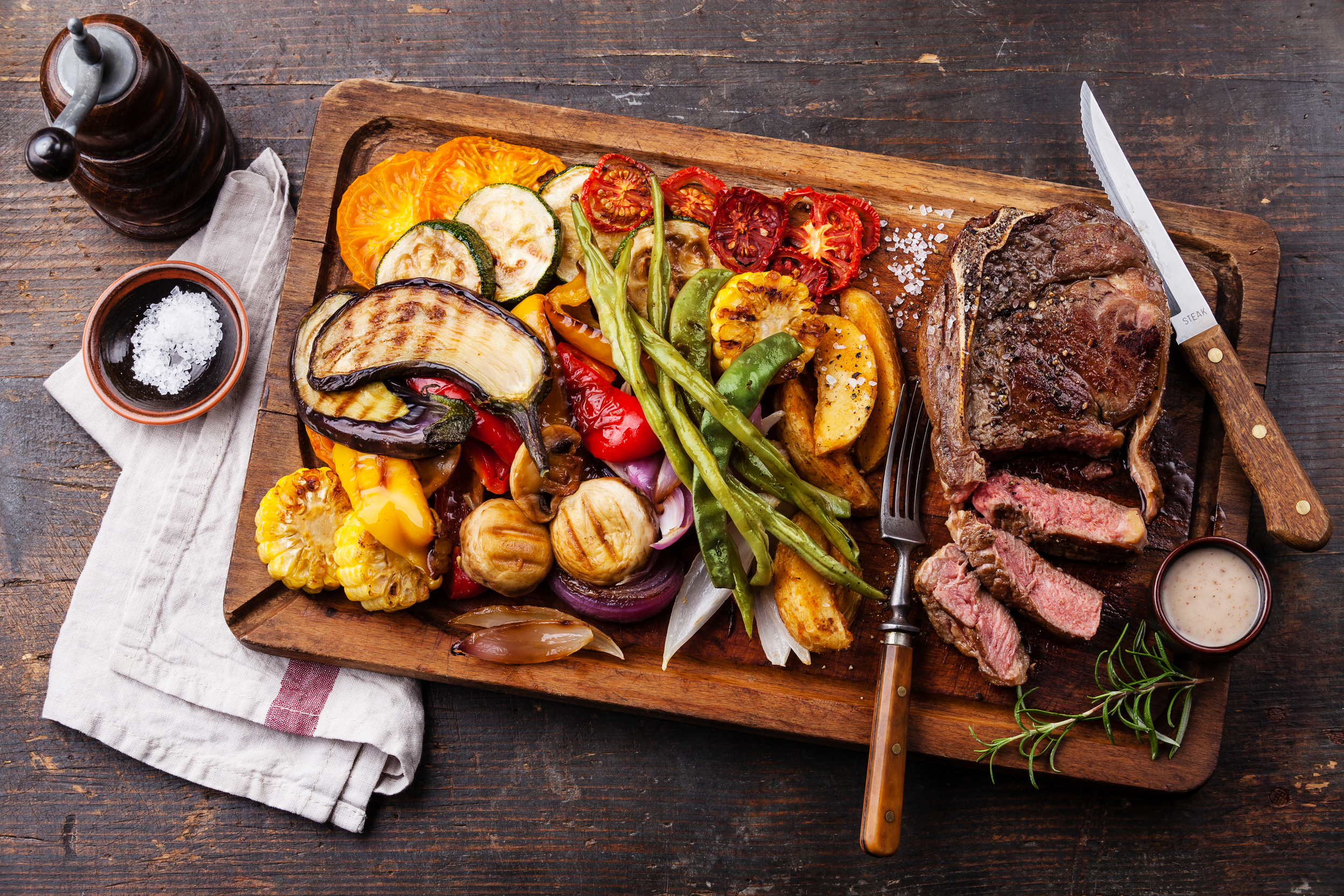 Steak and Grilled Vegetables