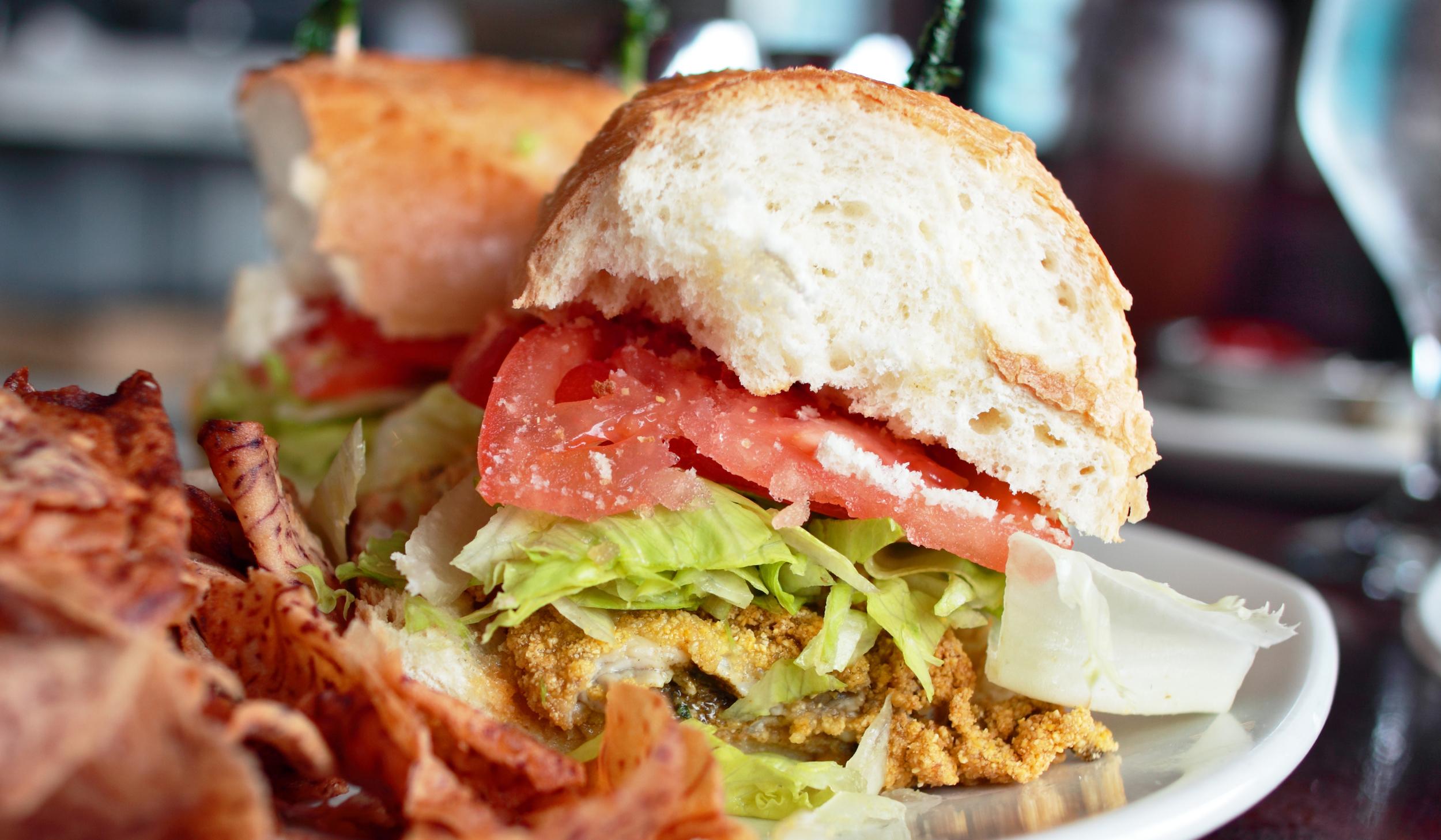 Fried Oyster Po'Boy Sandwich