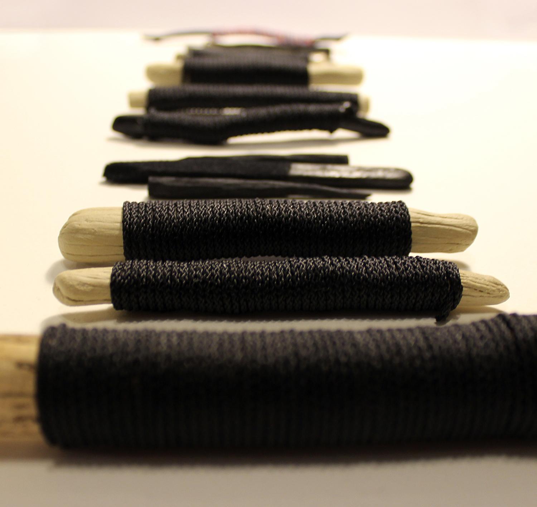 """""""stick, twine, fathom"""" (detail) wood, twine, flock, ceramics, 2014"""