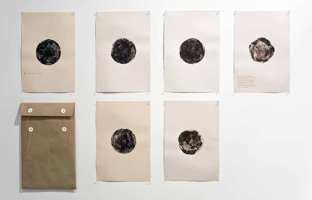 """core samples"" ink, resin, paper, string, 2008"