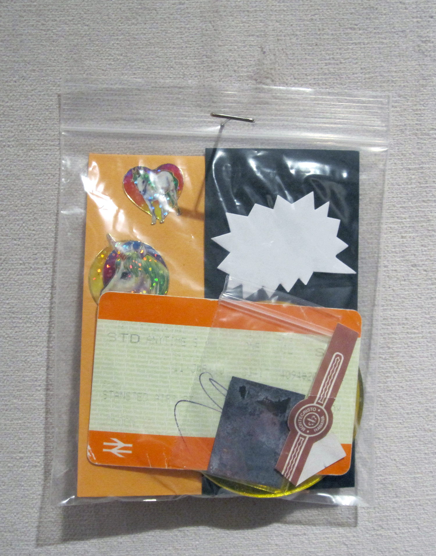 """baggy 05 (macdonald)"" ephemera in plastic bag, 2013"