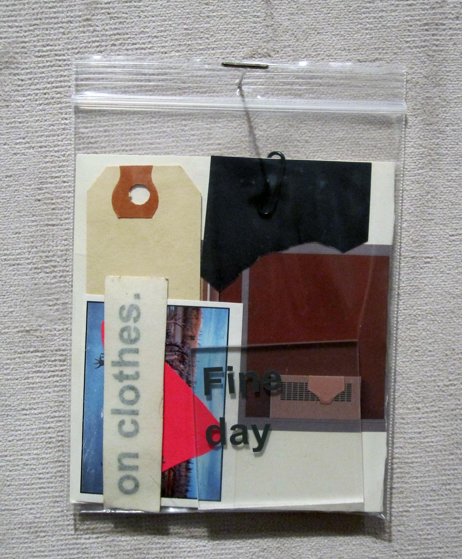 """baggy 07 (ropson)"" ephemera in plastic bag, 2013"