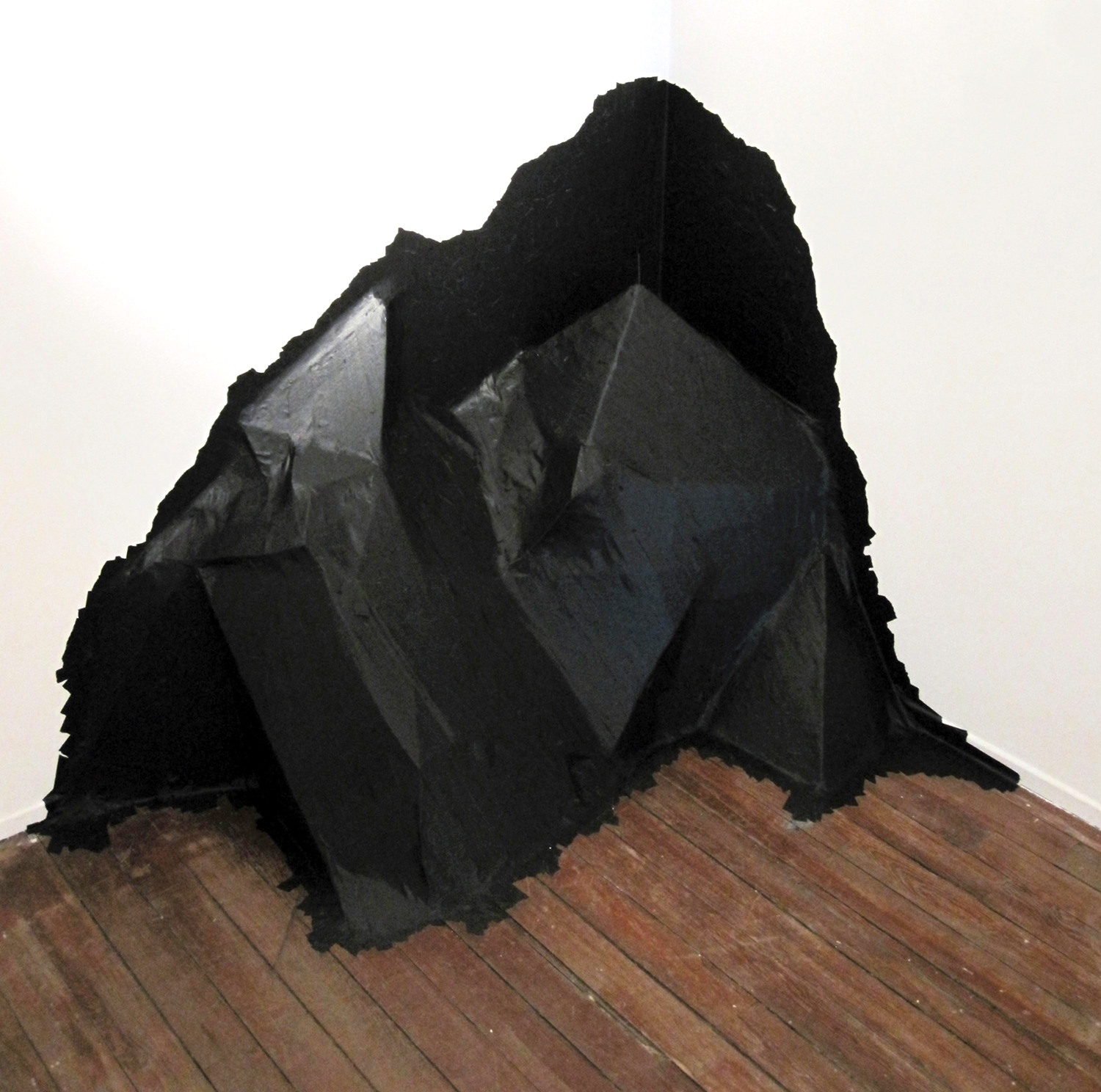 """black mountain"" masking tape and cardboard, 2010  (From ""Hook, Line & Sinker"", Forest City Gallery, London, ON)"