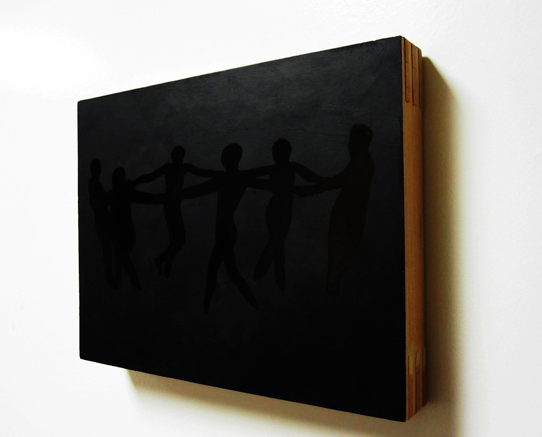 """le danse (thrashing all deceivers)"" oil on panel, 2011"
