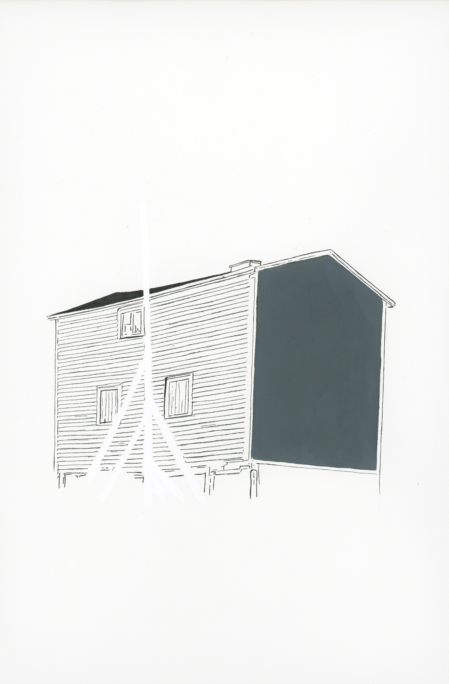 """""""flagpole (shed)"""" ink and flashe on paper, 2013"""