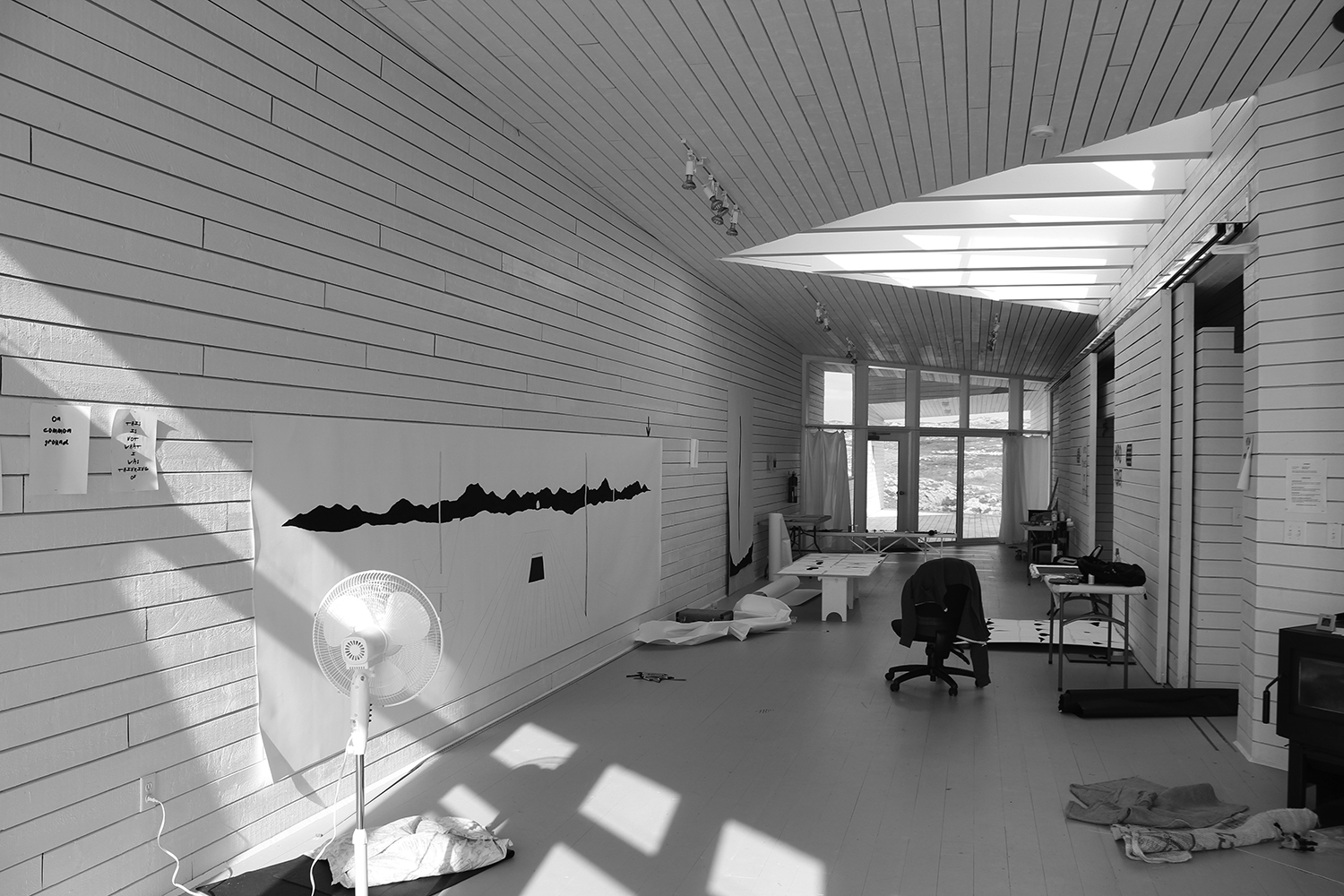 "Inside ""Long Studio"" during a residency with Fogo Island Arts: large-scale drawing in-progress, Summer 2013"