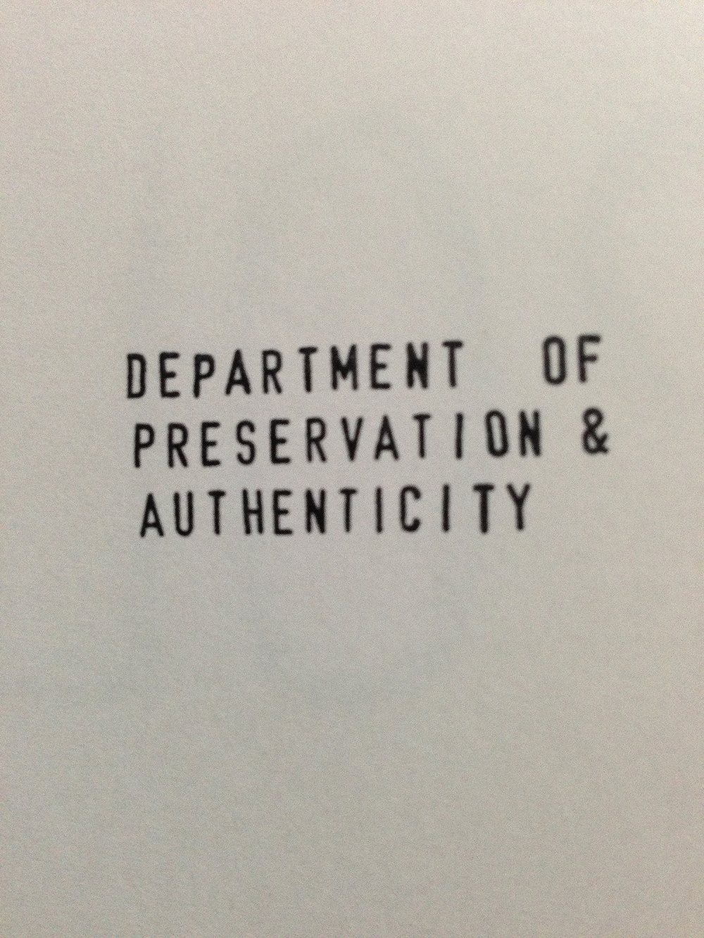 """Department of... (Island)"" rubber stamp multiple to be used at will, 2013"