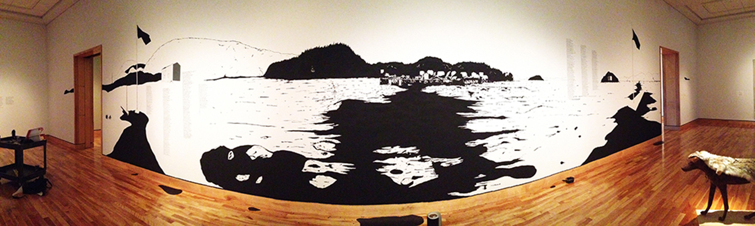 """as spoken in tongues"" (panoramic view) ink and vinyl, 2015"