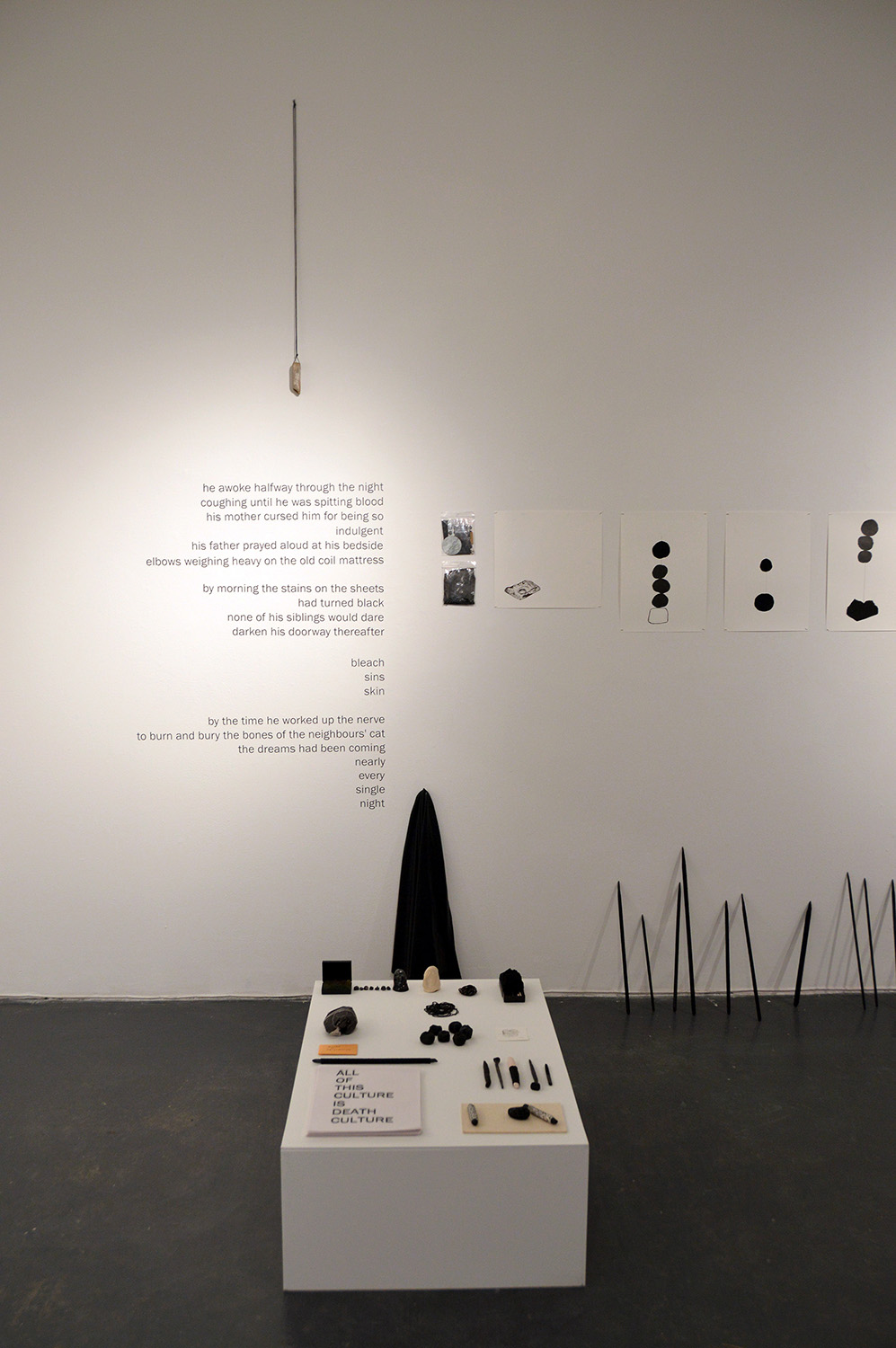 """""""rituals of preservation (part III)"""" (installation detail) site-specific installation with drawing and objects, 2016"""