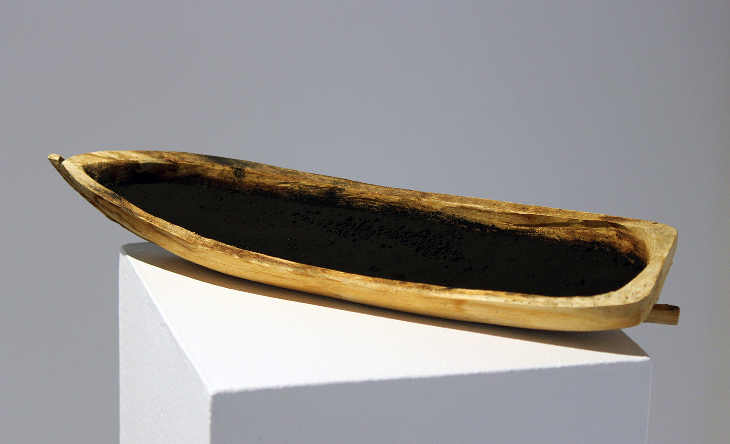 """open boat"" hand-carved punt (uncle Jeff) with black chalk, 2016"