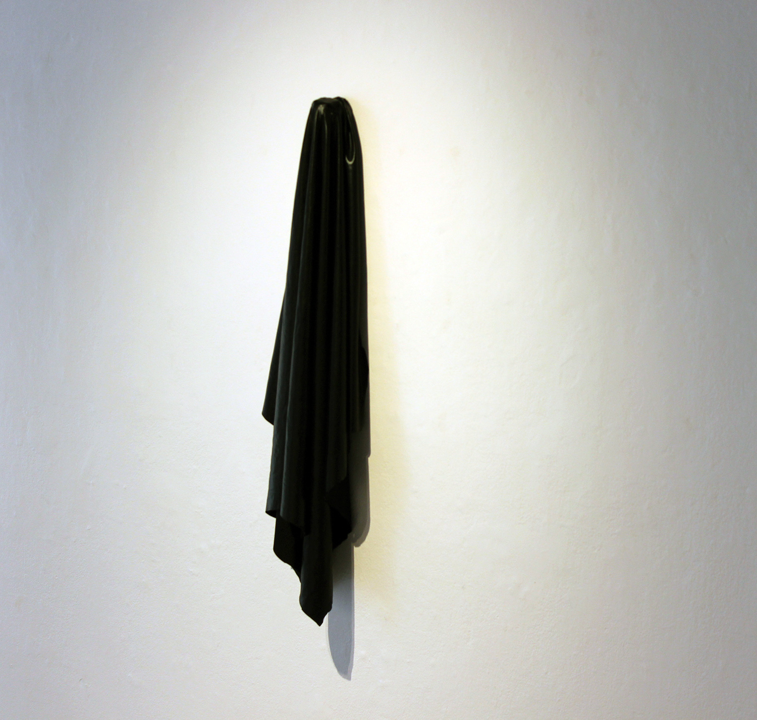 """""""hag, hung"""" hand-cut synthetic fabric, 2016"""