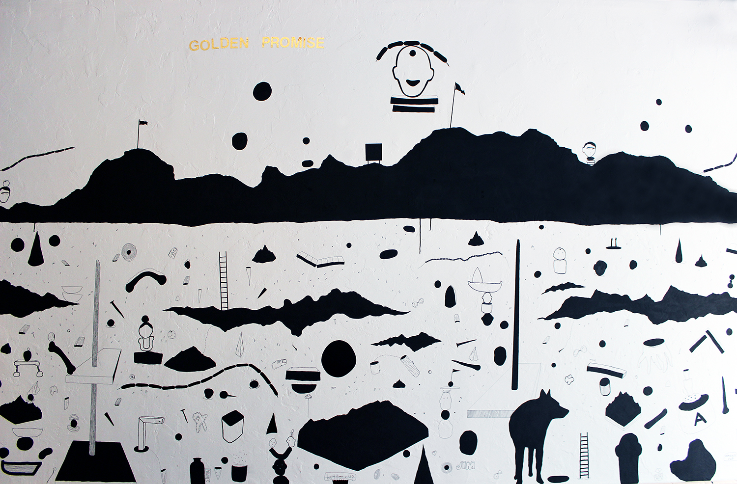 """""""golden promise"""" (nscad artbar wall drawing) ink and vinyl, 2016"""