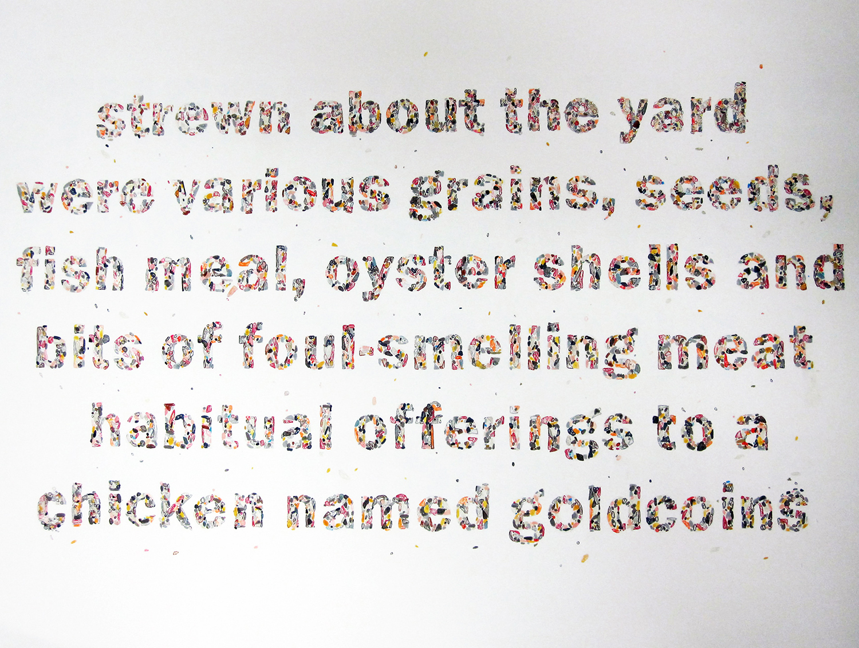 """self-titled (goldcoins)"" ink on paper, 56cm x 76cm, 2012"