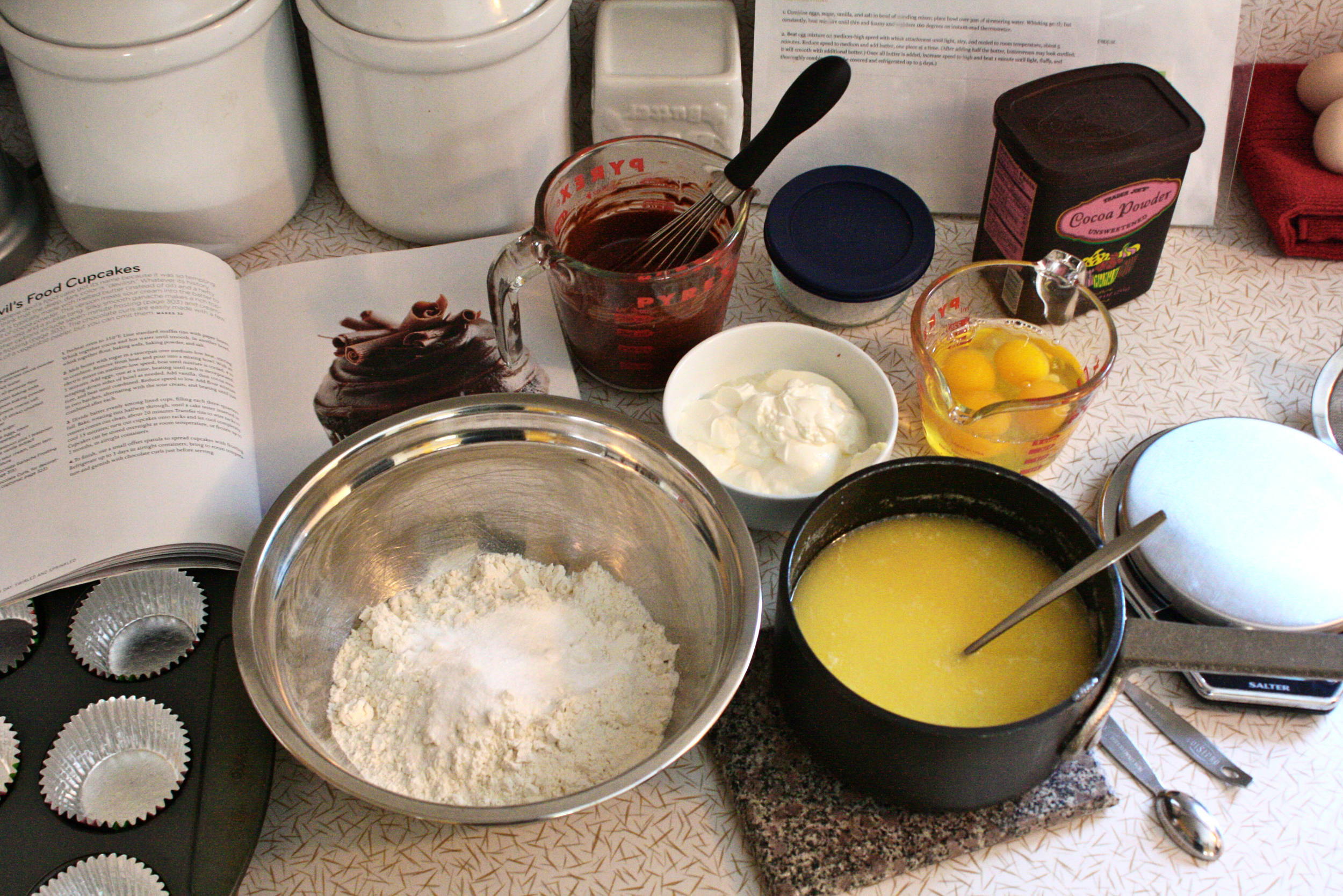 Butter & sugar melted together. Cocoa powder & boiling water whisked. Eggs ready to be added one at a time.