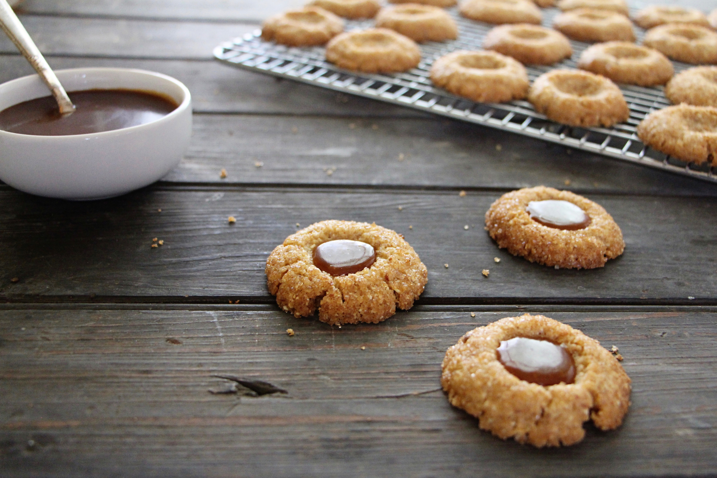 roasted almond thumbprint cookies