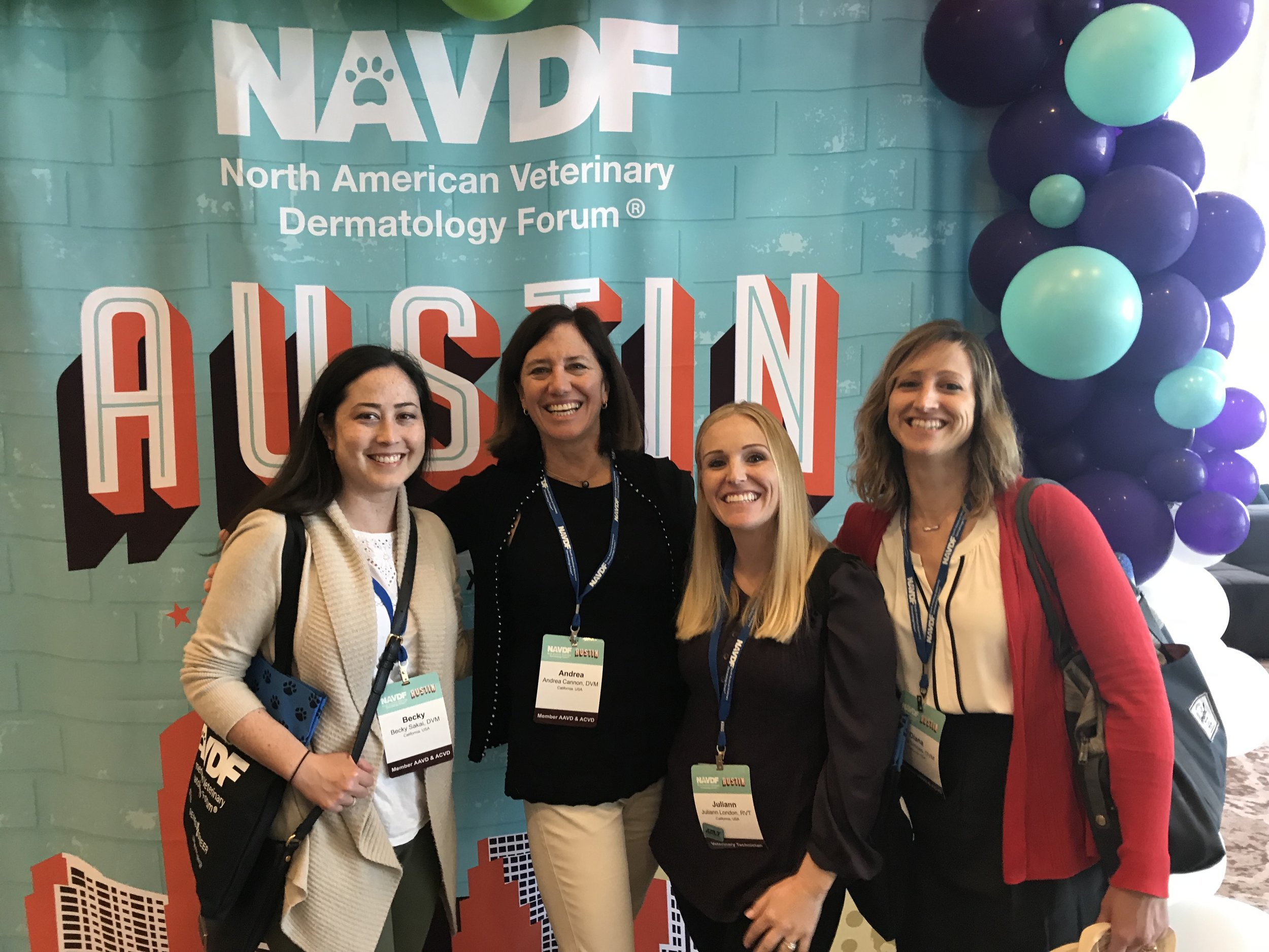 Dr. Sakai, Dr. Cannon, Juliann, and Dr. Simoes at the North American Veterinary Dermatology Forum