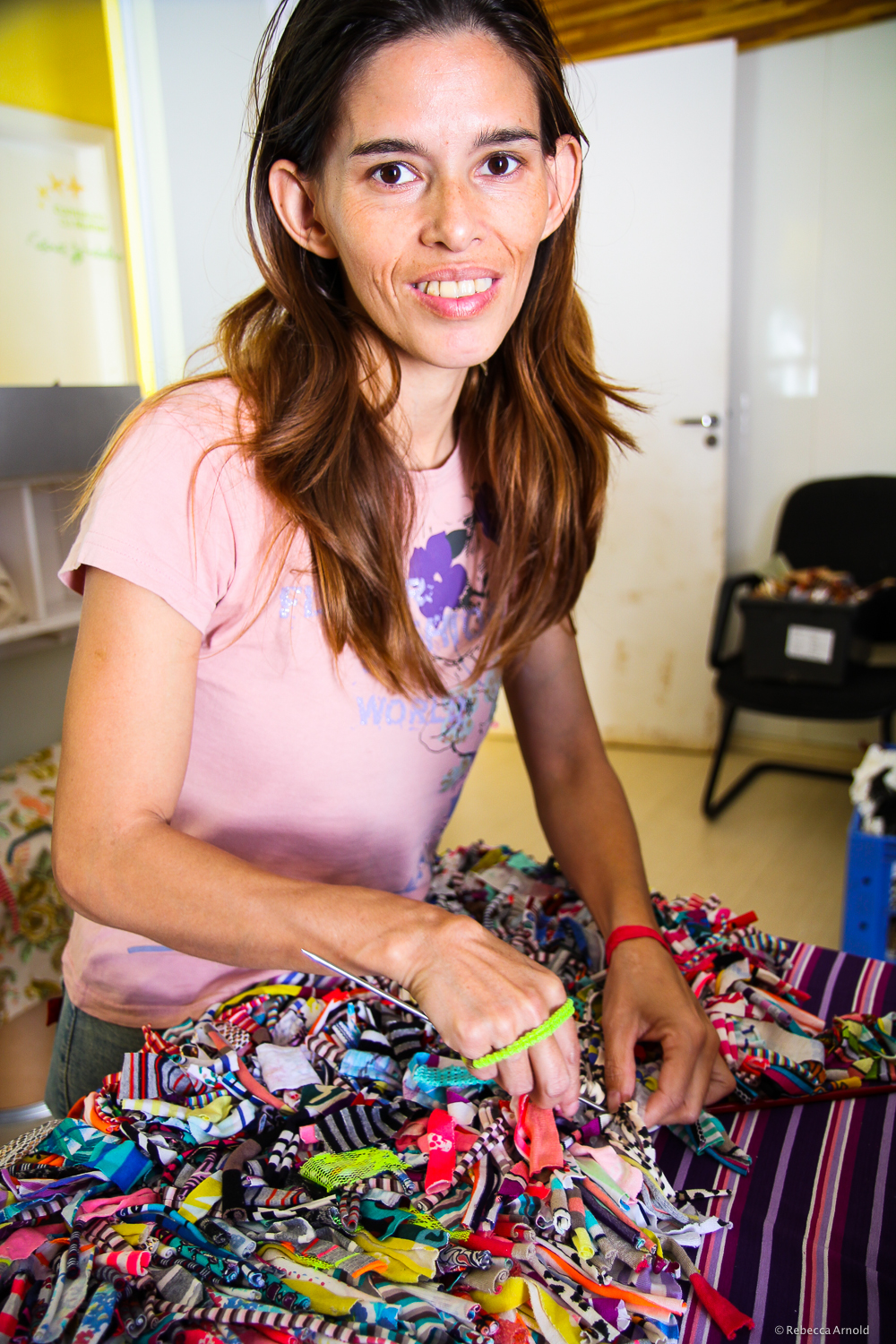 Sorocaba, Brazil.  Lua Nova,  New Moon, a  Women in the World  partner, rehabilitates drug-addicted teen mothers.         Making handbags to sell and fund the organization, and learn new skills for a stable life.