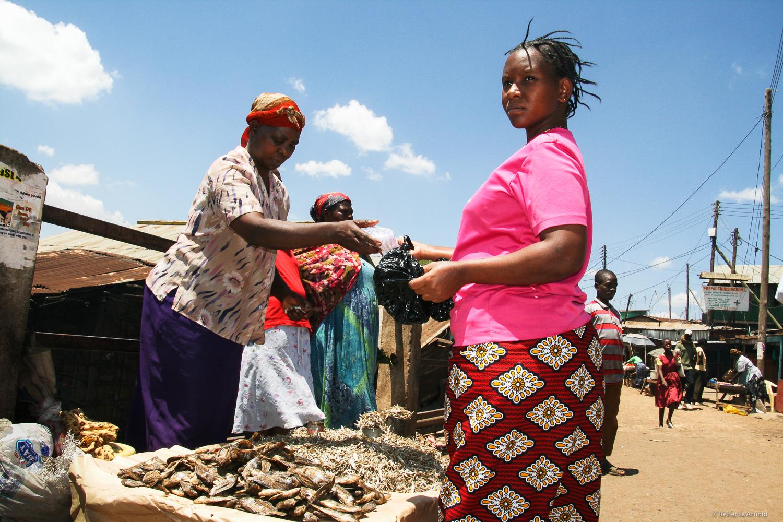 A micro loan allowed her to start this dried fish stand.  Kibera Slum, Nairobi, Kenya