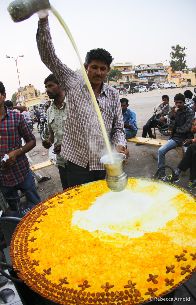 A giant vat of hot milk with saffron and almonds. A local drink in Jaisalmer, near the Pakistani boarder.