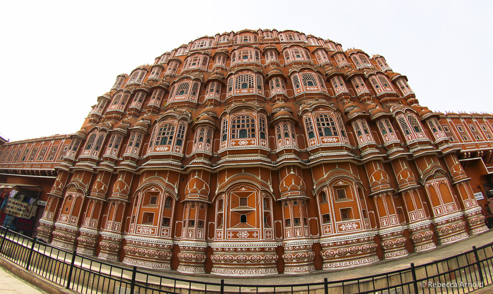 Jaipur's Hawa Mahal Palace. Built to obscure the view of the royal women inside, but allowing them to see out at the street festivals.