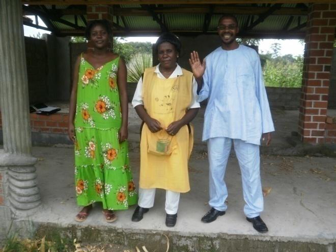 (L-R) Mwiche C. Bwalya CAM Community Programs Administrator, DHMT TB Corner Nurse Mrs. Esther Lupanda and Stanley posing for a photo at Dr. Elizabeth Rini Medical Center