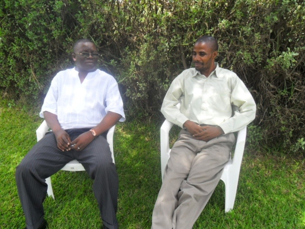 (L-R) Copperrbelt Minister Mr. Mwansa Mbulakulima and Mr. Stanley Mulenga at the National Assembly Motel in Lusaka during a one week-familiarization tour to Lusaka to raise more donor support from the Zambian government to Christian Aid Ministries
