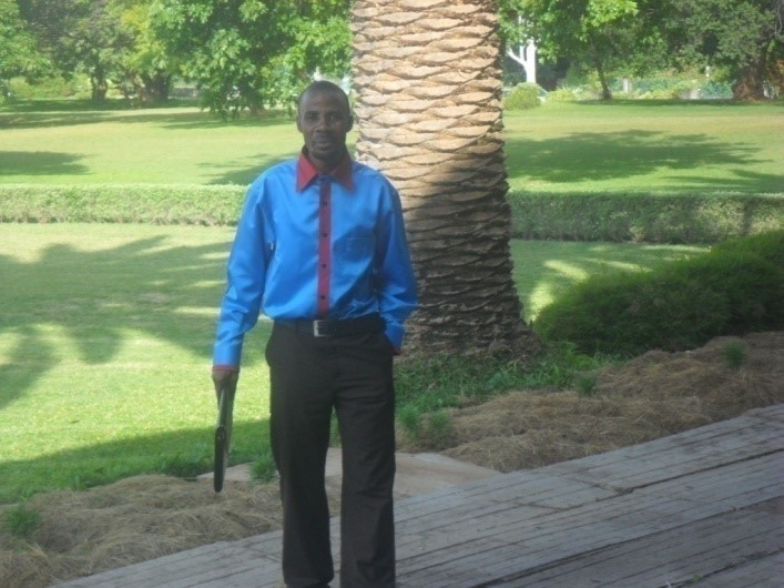 Stanley Mulenga (CAM Director) at the Zambian Parliament house after attending a parliament session and presenting Christian Aid Ministries to the Parliament house on Monday 21st February 2011