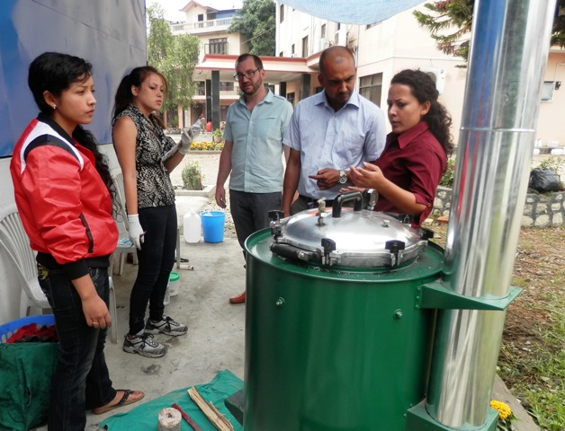 Sarina Arnold  (GHE '15) was conducting a Biofuel Autoclave testing in Kathmandu, Nepal.