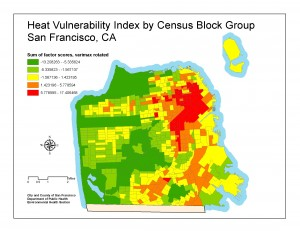 Map depicting  Courtney Smith 's (GHE '11) research on heat vulnerability in San Francisco, commissioned by the San Francisco Department of Public Health.