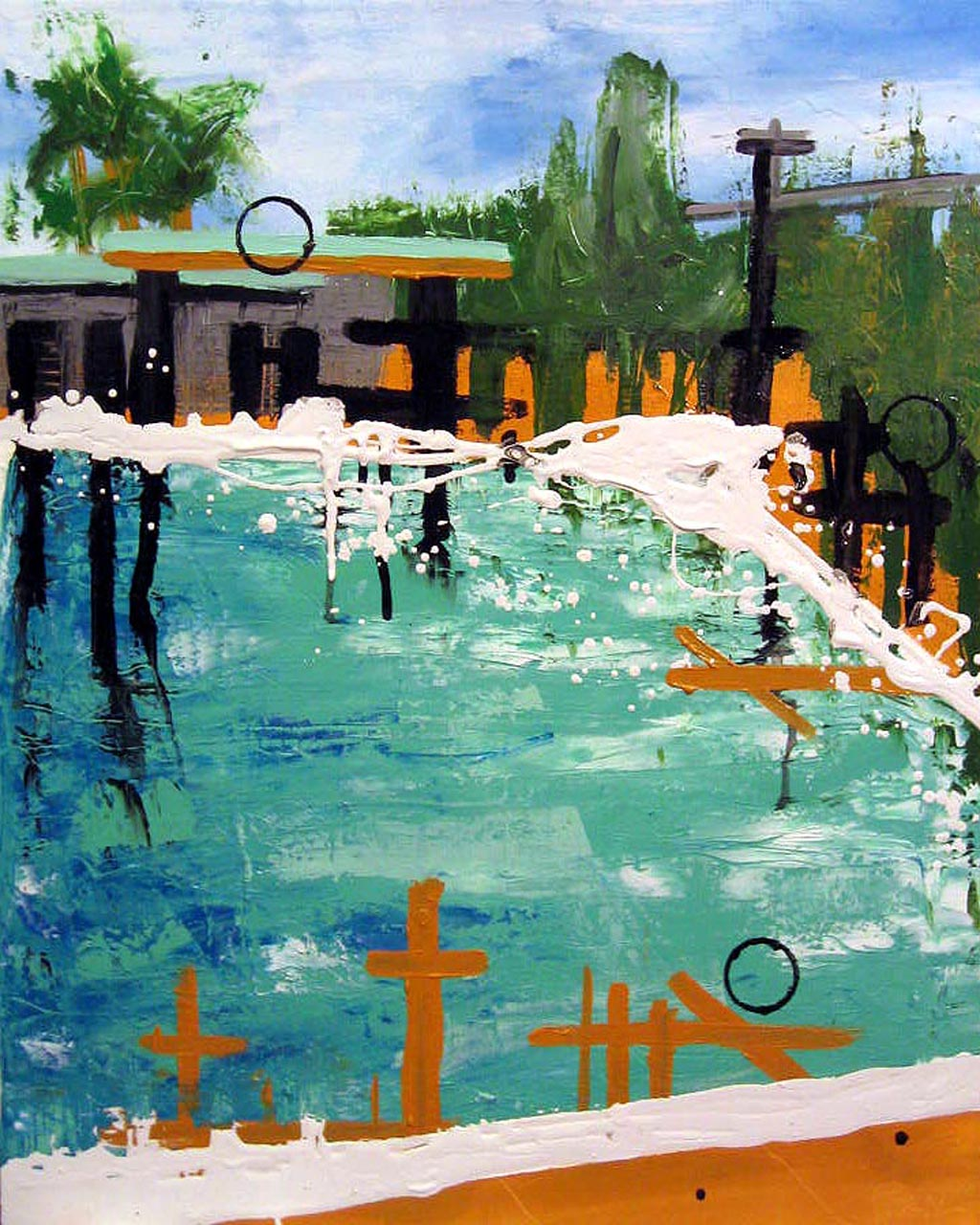 By the Pool, 2005, Oil on canvas, 24 x 46 inches